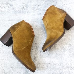New Frye Nora Whipstitch Suede Booties